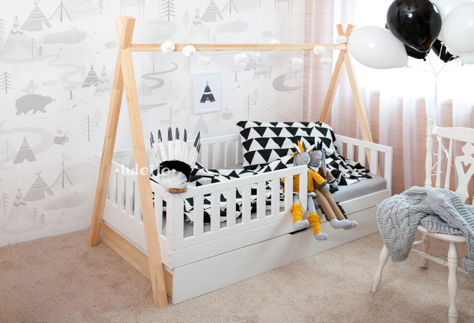 łóżko Tipi Z Barierką I Szufladami
